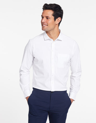 Solbari Sun Protection UPF50+ Men's Business Shirt in White Dry Flex Collection