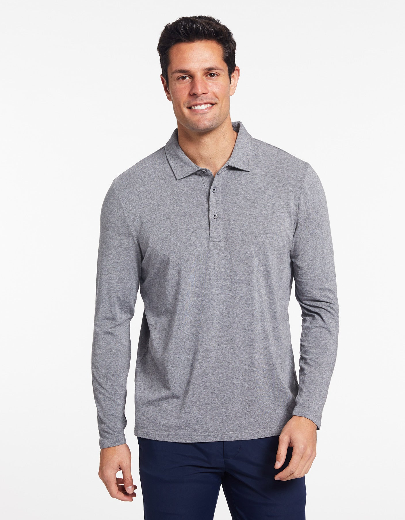 Solbari Sun Protection Men's UPF50+ Long Sleeve Polo in Dark Grey Marle Sensitive Collection