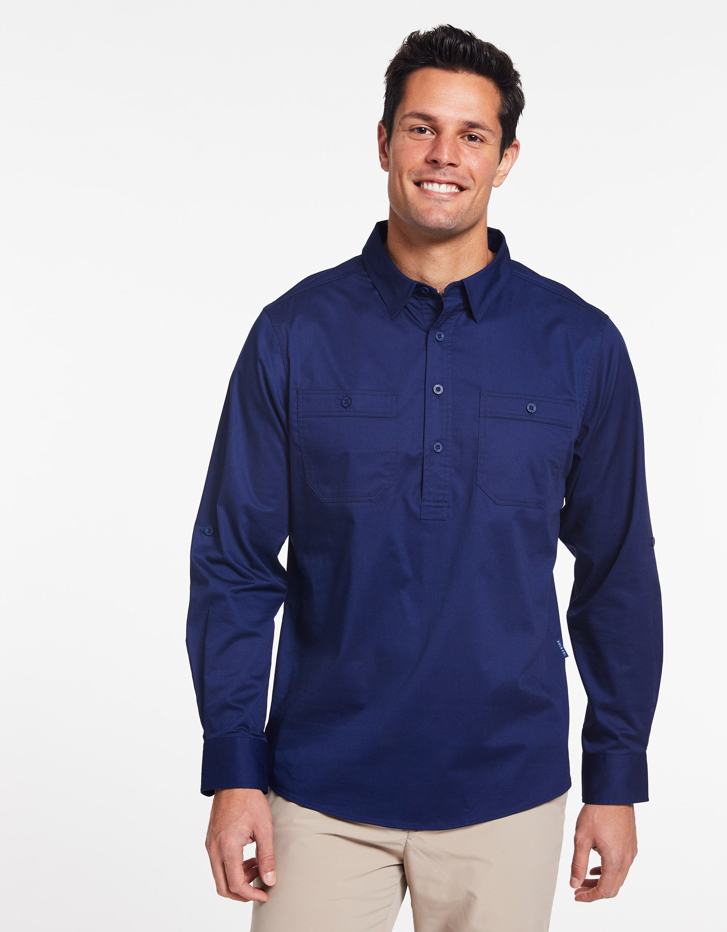 Solbari Sun Protection Men's UPF50+ Outback Half Placket Shirt in Navy Technicool Collection