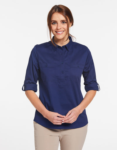Solbari Sun Protection Women's UPF50+ Outback Half Placket Shirt in Navy Technicool Collection