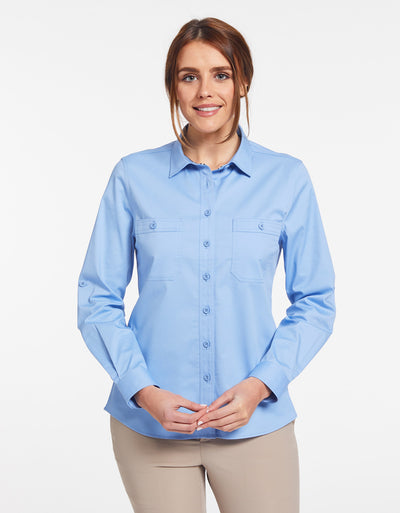 Solbari Sun Protection Women's UPF50+ Outback Shirt in Blue Technicool Collection