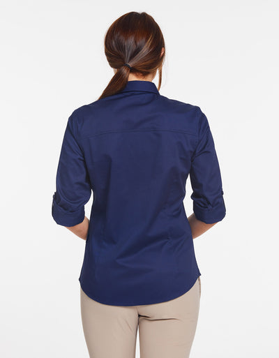 Solbari Sun Protection Women's UPF50+ Outback Shirt in Navy Technicool Collection