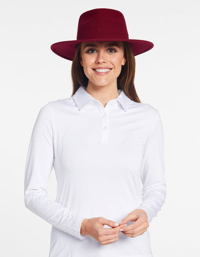 Solbari Sun Protection UPF50+ Women's Torquay Fedora in Claret with Matte Black SB Pin