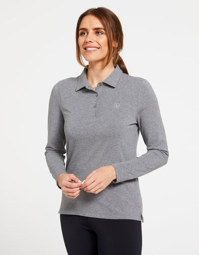 Solbari Sun Protection UPF50+ Women's Long Sleeve Polo Sensitive Collection in Dark Grey Marle