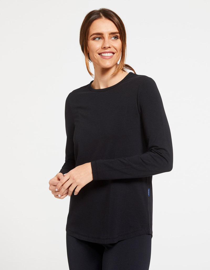 Solbari Sun Protection Women's UPF50+ Long Sleeve Swing Top in Black