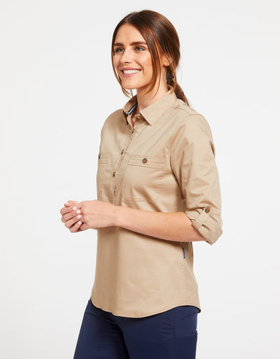 Solbari Sun Protection Women's UPF50+ Outback Half Placket Shirt in Safari Technicool Collection