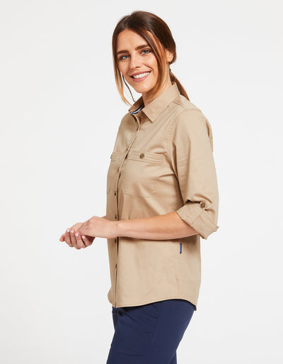 Solbari Sun Protection Women's UPF50+ Outback Shirt in Safari Technicool Collection