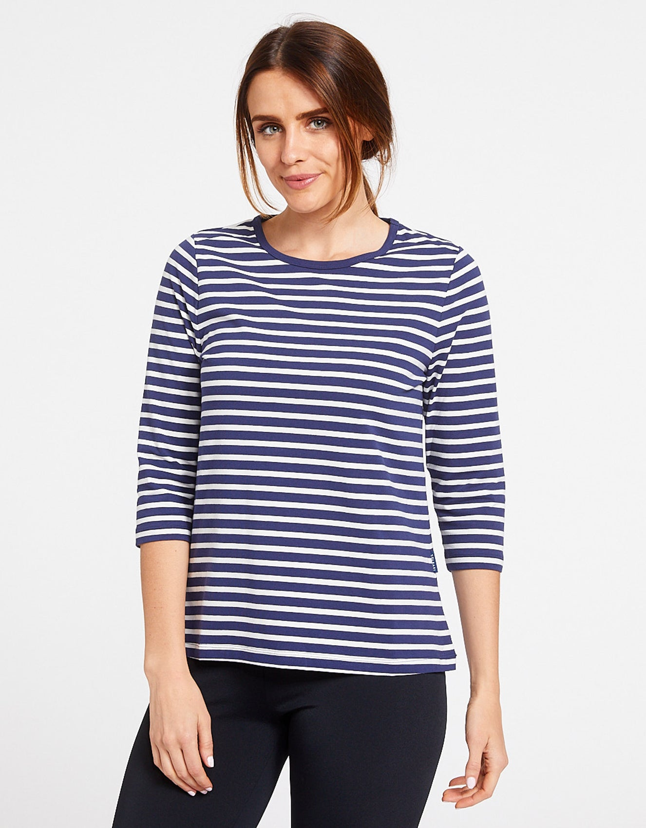 3/4 Sleeve Stripe T-Shirt UPF 50+ Cotton Comfort Collection