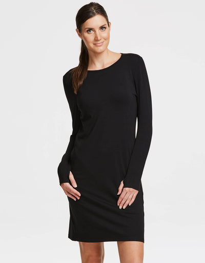 Solbari UPF 50+ Sun Protection Black Long Sleeve T-Shirt Dress Sensitive Collection for Women