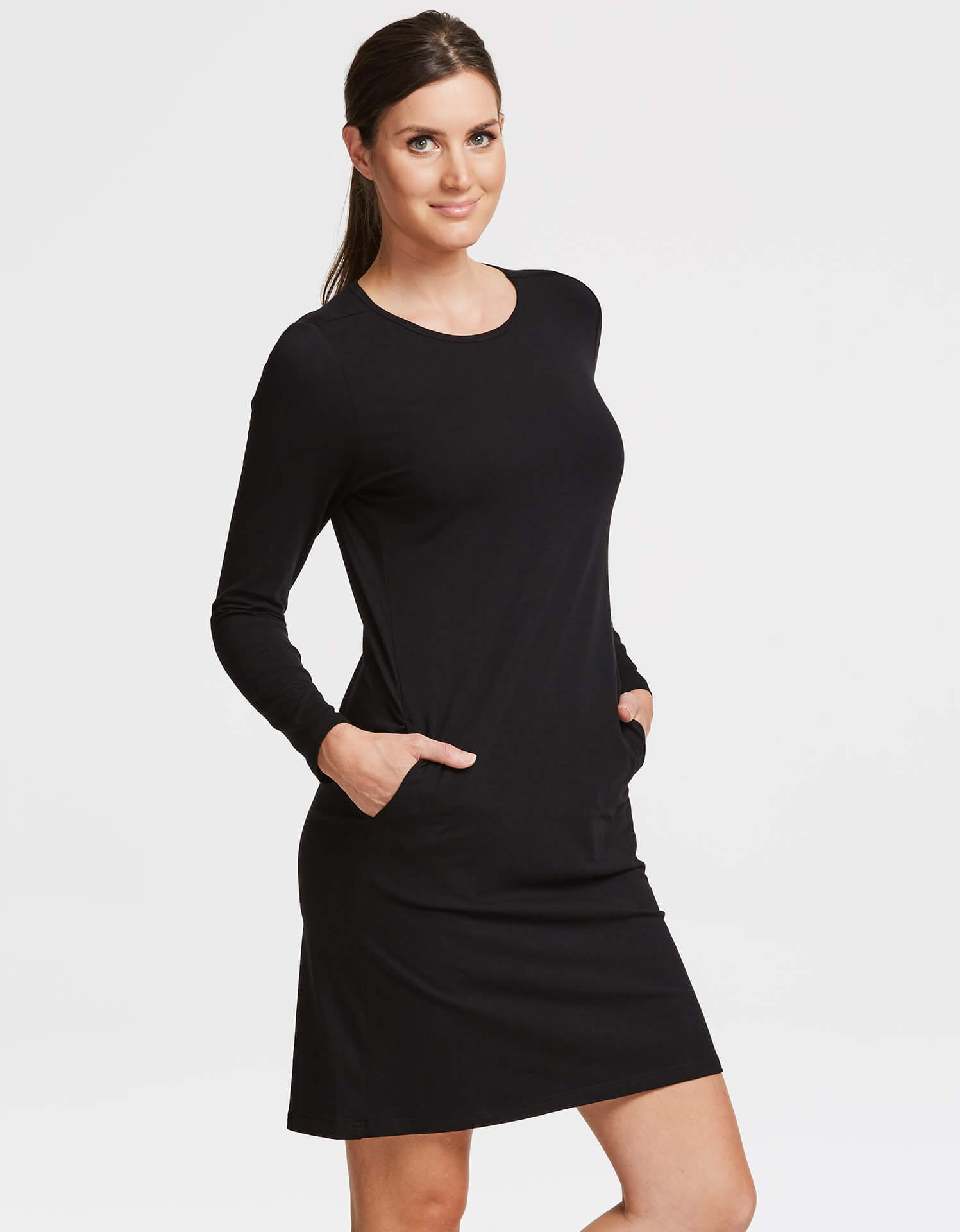 2ff681b2460 Solbari UPF 50+ Sun Protection Black Long Sleeve T-Shirt Dress Sensitive  Collection for