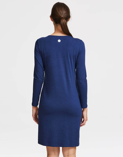 Solbari UPF 50+ Sun Protection Navy Long Sleeve T-Shirt Dress Sensitive Collection for Women