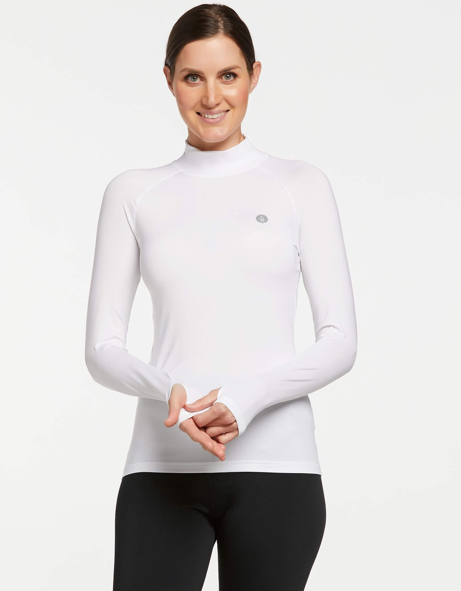Solbari UPF 50+ Sun Protective White Turtleneck Base Layer for Women