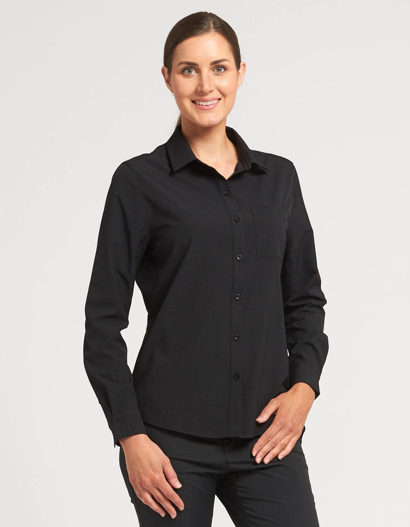 Solbari Sun Protection Womens Shirt in Black, Dry Lite Comfort Stretch Collection