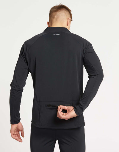 Solbari UPF 50+ Sun Protection Black Full Zip Top With Back Zip Pocket for Men