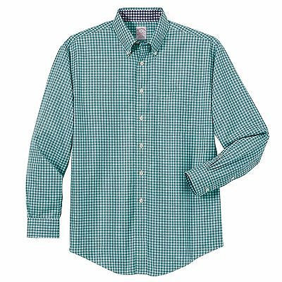 Brooks Brothers Men's Non-Iron Twill Framed Mini-Check Long Sleeve Shirt BR7338