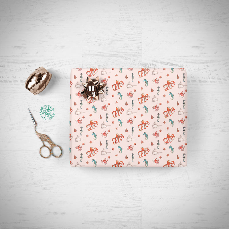 Pink Sealife Gift Wrap