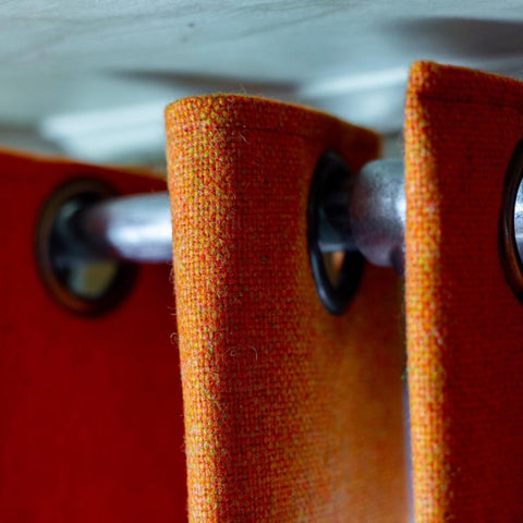 Natural wool curtains in turmeric