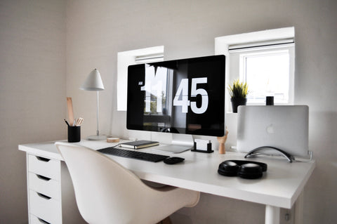 working from home white with wooden accents workstation