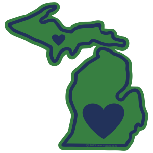 Upper and Lower Penninsula stickers available, Ann Arbor, Detroit, Kalamazoo, Traverse City, Heartsticker