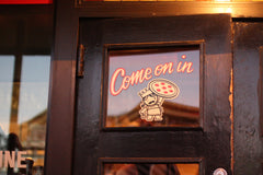 Home Slice Pizza Door in Austin Texas
