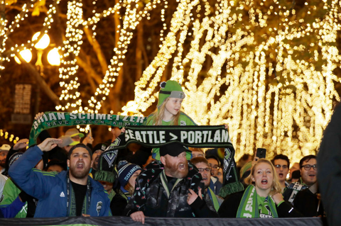 Portland Timbers and Seattle Sounders Fans outside Qwest Stadium in Seattle post season soccer