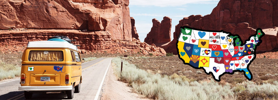 Yellow VW bus with heart in usa map with many hearts in arches national park