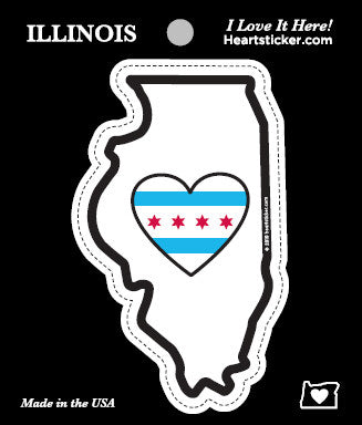 Heart in Chicago city flag Illinois