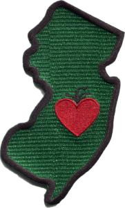 New Jersey - Heart in New Jersey NJ Cooler Sticker Patch - Single