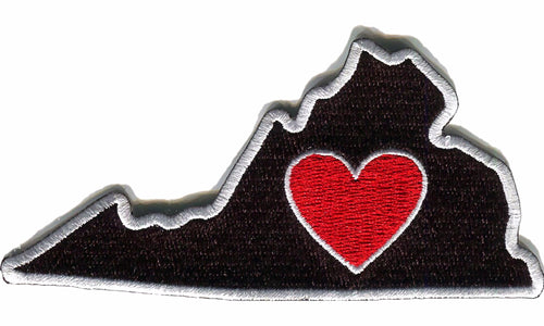 Virginia - Heart in Virginia VA Embroidered Sticker - Single - The Heart Sticker Company