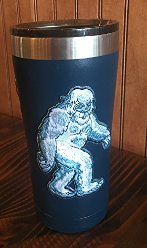 Yeti cooler sticker applied to a blue tumbler