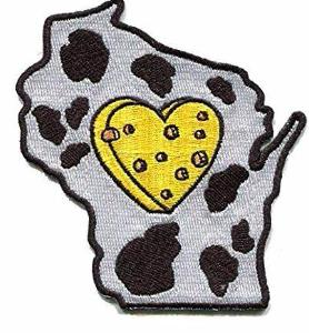 Wisconsin - Heart in Wisconsin WI Embroidered Sticker - Single - The Heart Sticker Company