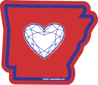 Heart in Arkansas Sticker - The Heart Sticker Company