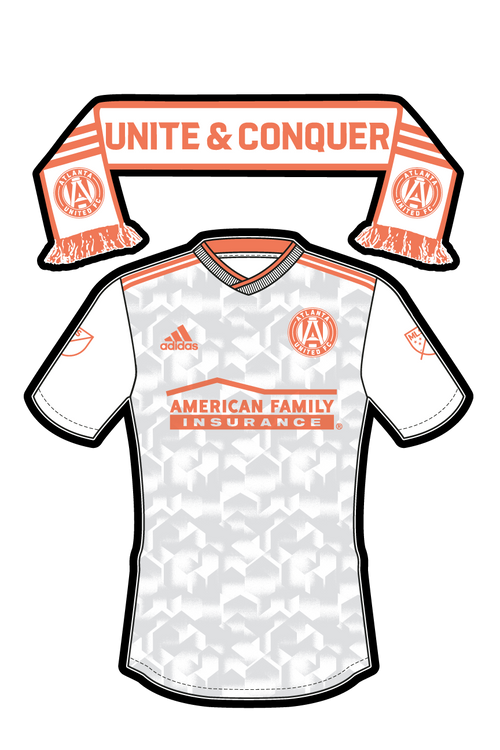 MLS - GA Atlanta United Uniform/Scarf Sticker (White/Peach)- Single