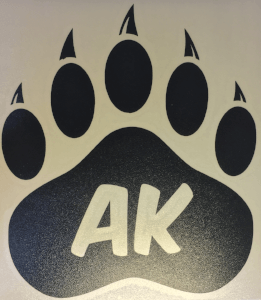 "Alaskan Bear Paw ""AK"" Vinyl Transfer (Black or Blue)"