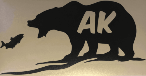 Alaskan Bear and Salmon Vinyl Transfer (Black or White)