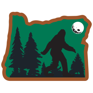 bigfoot Sasquatch Sticker in oregon with trees and a full moon