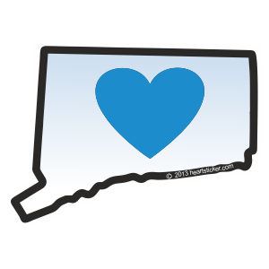 Heart in Connecticut Sticker - The Heart Sticker Company