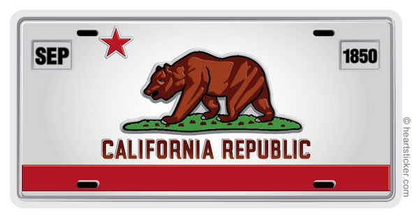 California Republic Vanity License Plate Bear Star Love Decal Sticker