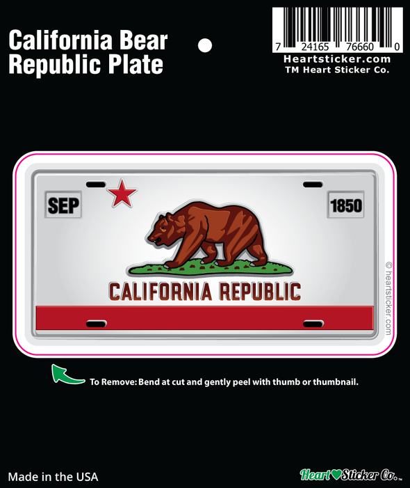 Sticker | California License Plate | Bear Flag - The Heart Sticker Company