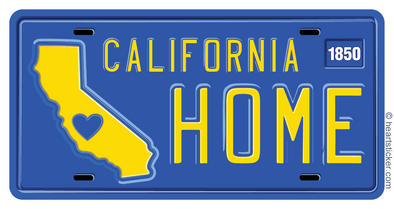 California License Plate Sticker Home Blue Yellow design