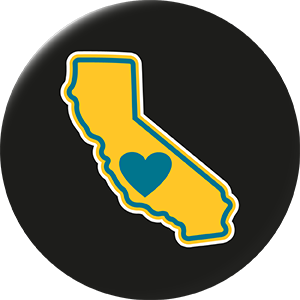 California - Heart in California 2.25 inch 4 set magnet pack (Mix colors) - The Heart Sticker Company