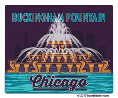 Buckingham fountain chicago luggage sticker