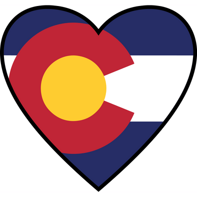 heart shaped sticker with Colorado state flag in the heart.
