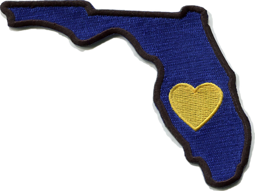 Florida - Heart in Florida FL Embroidered Sticker - Single