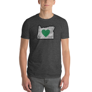 charcoal T-Shirt green heart in oregon short sleeve
