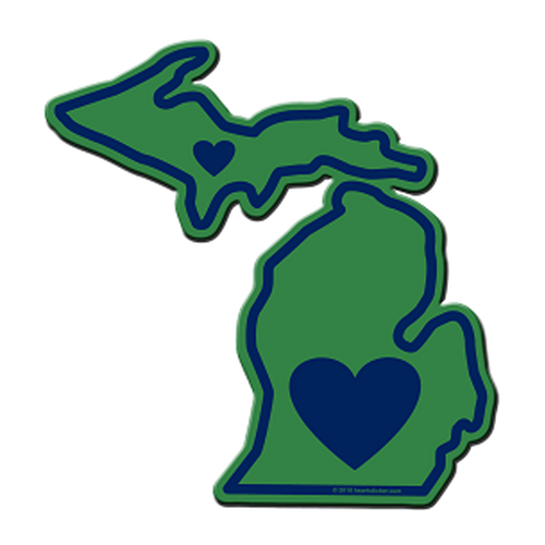 Heart in Michigan  Sticker - The Heart Sticker Company