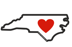 Heart in North Carolina Sticker - The Heart Sticker Company