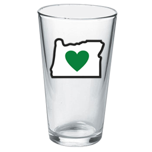 Heart in Oregon Pint Glass - The Heart Sticker Company