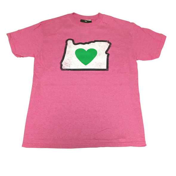 heart in oregon pink youth t-shirt