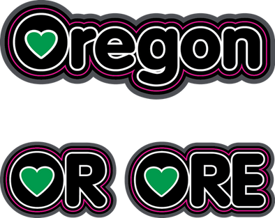 Sticker | Heart in OR/ORE/Oregon - The Heart Sticker Company